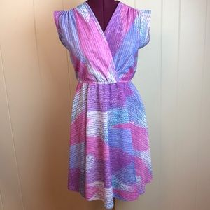 Vintage 60s/70s Multicolored V Neck Disco Dress